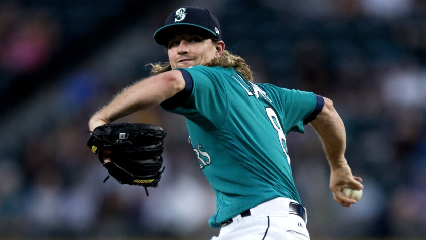 Seattle Mariners pitcher Mike Leake was three outs away from a perfect game against the Angels on Friday in Seattle.