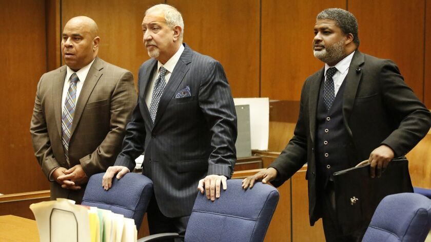 LOS ANGELES, CA - MARCH 16, 2018 - Attorney Thaddeus Culpepper, right, appears in Los Angeles Superi