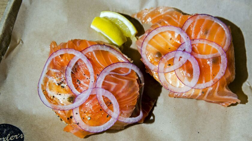 LOS ANGELES, CA -- JULY 25, 2014--An everything bagel, lox and cream cheese, for $10, at Wexler's De