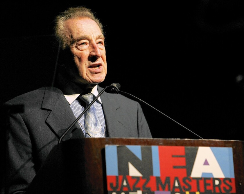 Buddy DeFranco speaks during the National Endowment for the Arts Jazz Masters induction ceremony in 2006.