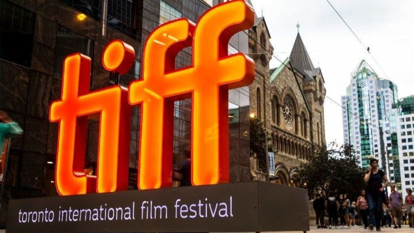 The TIFF logo at the 2018 Toronto International Film Festival along King Street.