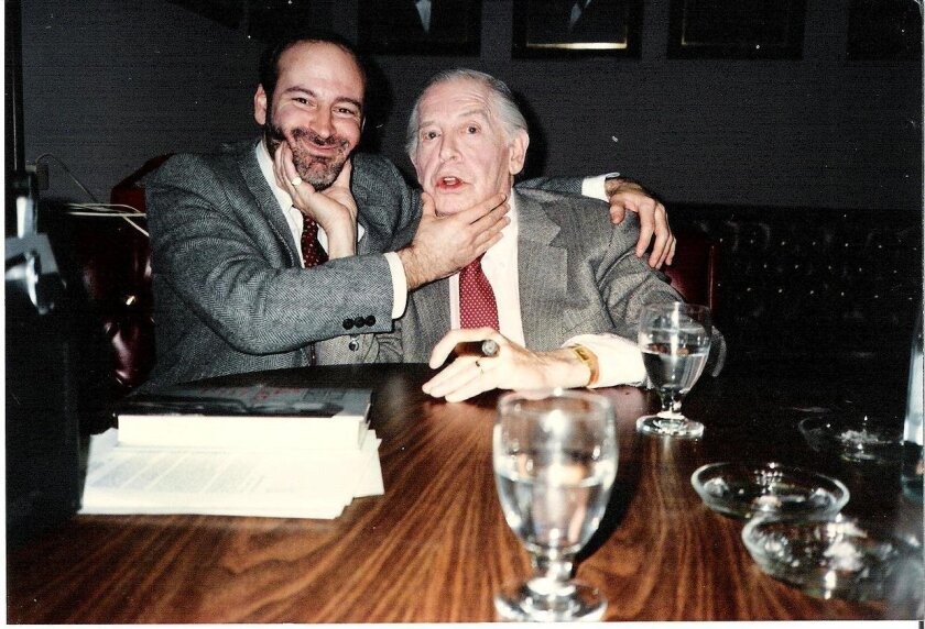 Alan Green cuts up with comedian Milton Berle (1908-2002) at the Grande Colonial Hotel in La Jolla.