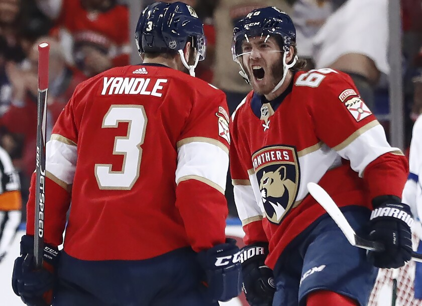 Florida Panthers left wing Mike Hoffman (68) celebrates after scoring a goal during the second period of the team's NHL hockey game against the Tampa Bay Lightning, Saturday, Oct. 5, 2019, in Sunrise, Fla. (AP Photo/Brynn Anderson)