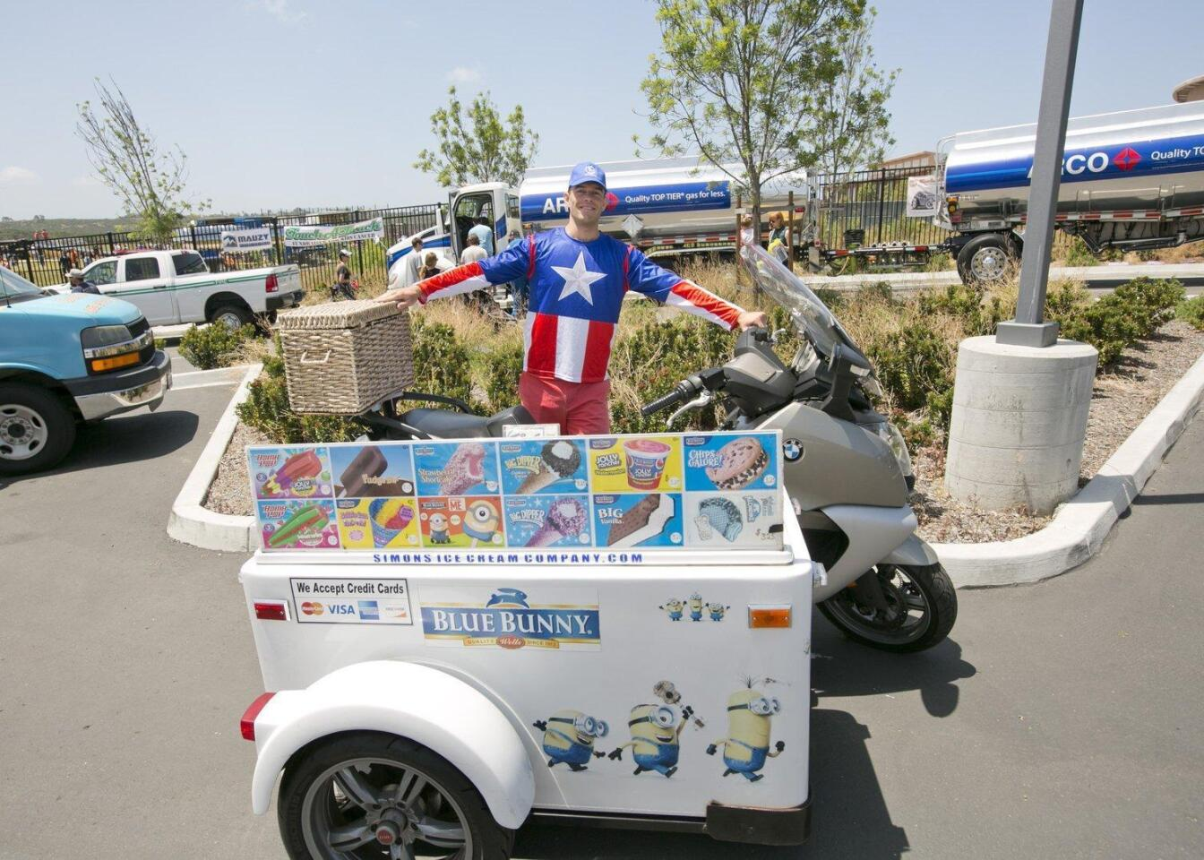 Simon Anguelov with his BMW motorcycle fitted with an ice cream side car