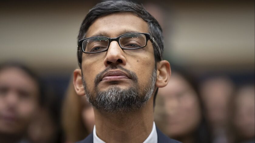 Google CEO Sundar Pichai appears before the House Judiciary Committee in 2018.