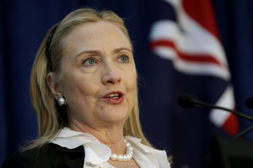 Secretary of State Hillary Rodham Clinton speaks during a news conference at the annual Australia-United States Ministerial Consultations in Perth, Australia.