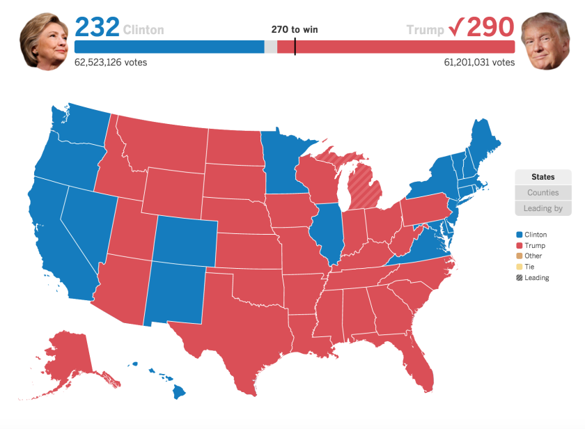 2016 Electoral College results
