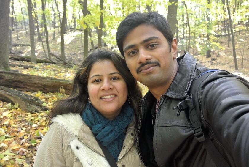 Srinivas Kuchibhotla, right, poses for photo with his wife Sunayana Dumala in Cedar Rapids, Iowa, in this family photo.