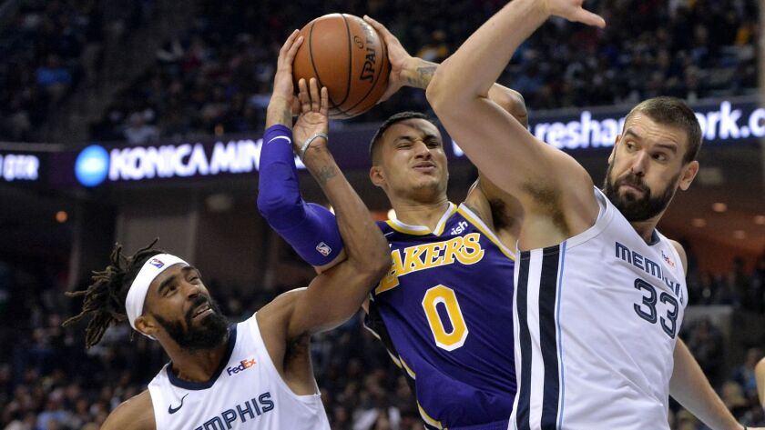 Los Angeles Lakers guard Lonzo Ball (2) struggles for control of the ball against Memphis Grizzlies