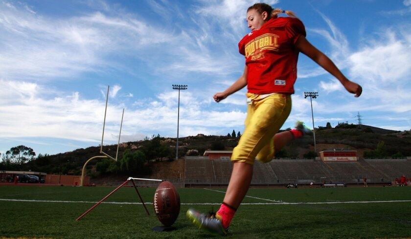 Mt. Carmel's Ashlin Morey is working on her kicking mechanics this summer.