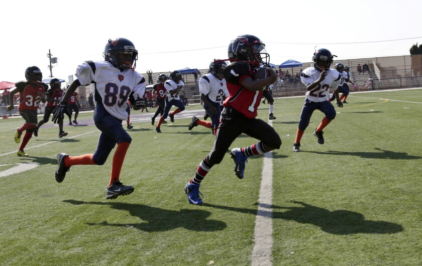 Good wholesome fun, or a threat to kids' health? The LAPD-coached youth football team Watts Bears (in white) pursue a member of the Southern California Falcons during a 2013 game. The players are 7 to 9 years old.
