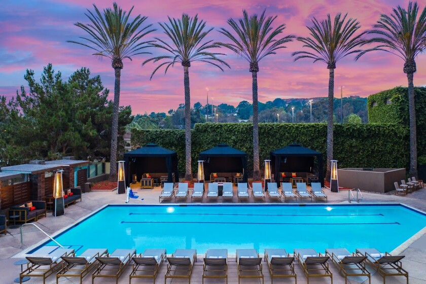 The newly refreshed pool area at the San Diego Marriott Del Mar hotel, which held its grand reopening on Thursday.