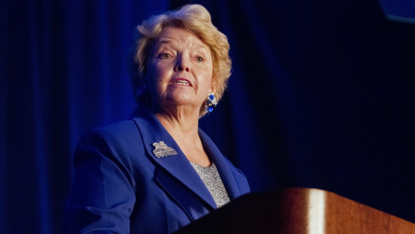 CSUSM President Karen Haynes is shown delivering a community address in 2015.