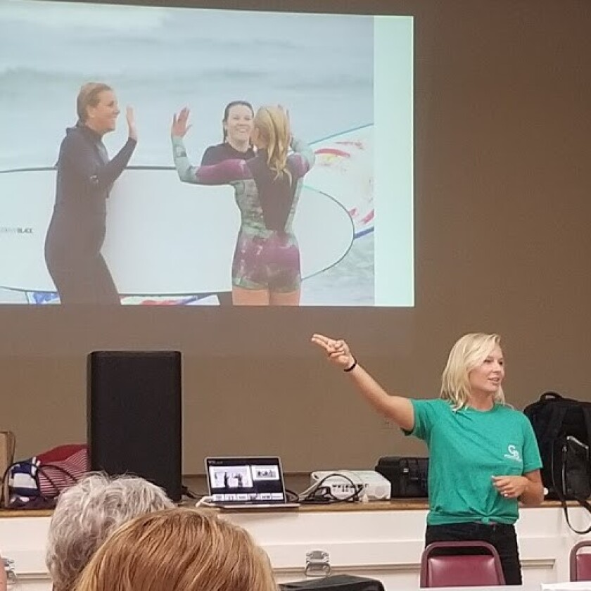 During the OB Town Council meeting, Sept. 25, Groundswell Project founder Natalie Small describes how her 'surf therapy' program has helped dozens of local women.