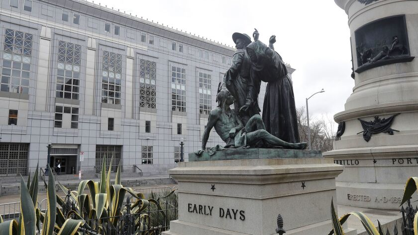 The statue, which depicts a Native American at the feet of a Spanish cowboy and Catholic missionary, will be restored and put in storage until officials decide what to do with it, San Francisco's Arts Commission said.