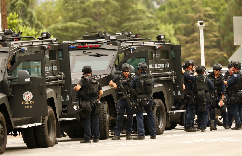 LAPD SWAT officers muster during an operation in Van Nuys in 2019.