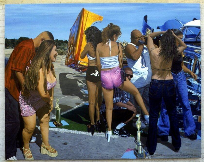 """John Valadez, """"Car Show"""" (2001). Museum of Contemporary Art San Diego"""