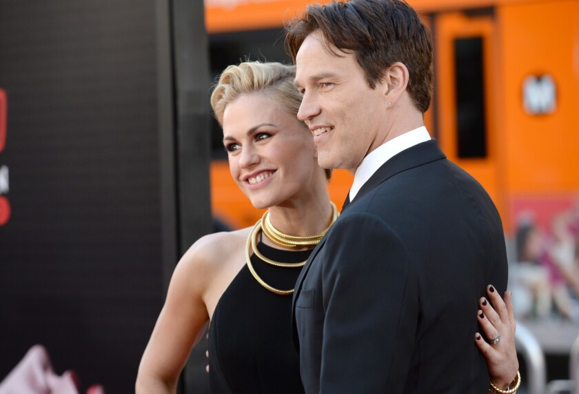 """""""True Blood's"""" Anna Paquin and Stephen Moyer attend the premiere of HBO's """"True Blood"""" Season 7 at TCL Chinese Theatre on June 17, 2014 in Hollywood."""