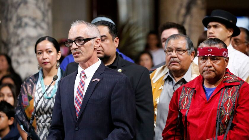 Councilman Mitch O'Farrell, pictured at City Hall in 2016, is pushing for city lawmakers to establish Indigenous Peoples Day as a new city holiday that would replace Columbus Day in L.A.