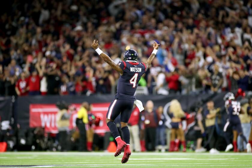 Houston Texans quarterback Deshaun Watson celebrates a score against the Buffalo Bills on Jan. 4 at NRG Stadium.