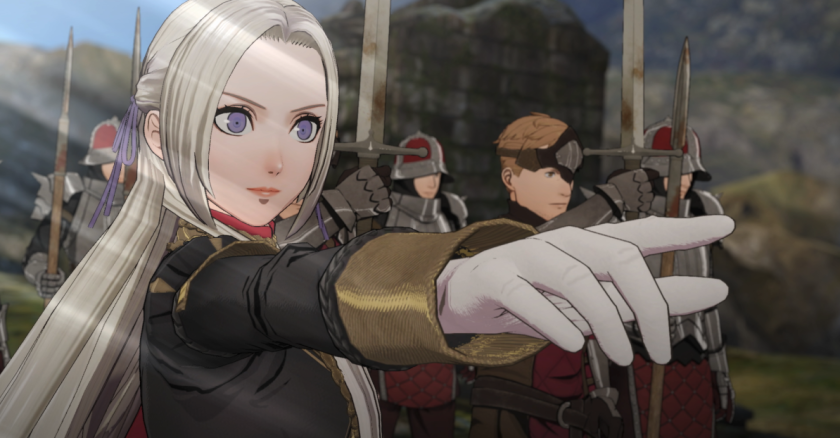 "A female animated character from ""Fire Emblem: Three Houses"" points her index finger at the journey ahead. An army stands behind her."
