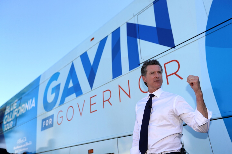 Gavin Newsom bus rally