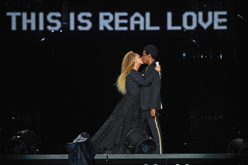 Beyonce and Jay-Z perform onstage during the On The Run II tour on Aug. 2 at MetLife Stadium in East Rutherford, New Jersey.