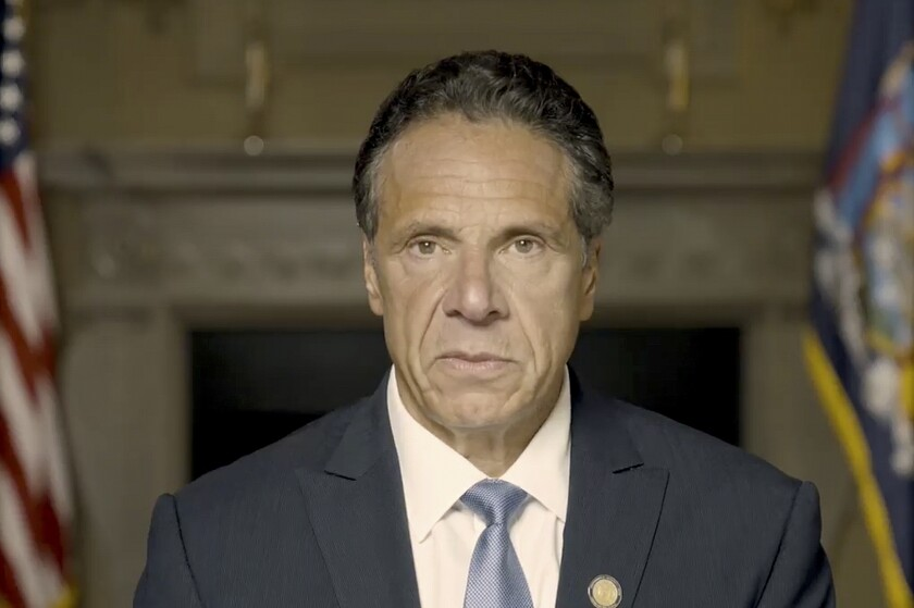 New York Gov. Andrew Cuomo makes a statement on a pre-recorded video