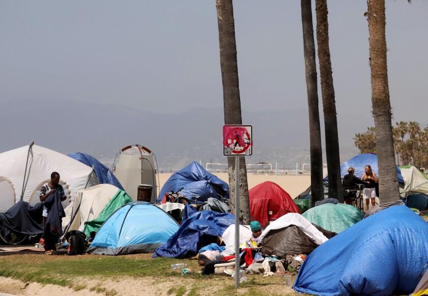 Tents on Venice Beach.