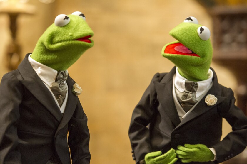 Kermit, other 'Muppets Most Wanted' stars suit up in Brooks