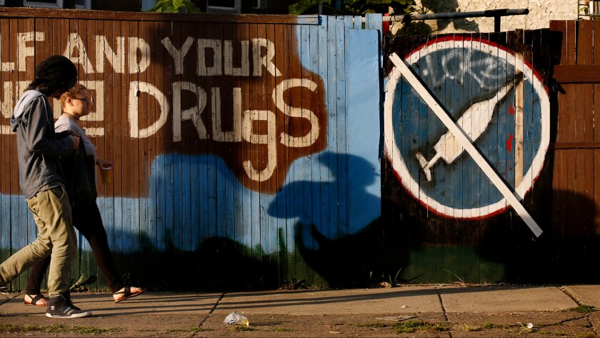 Anti-drug message painted on a fence in north Philadelphia.