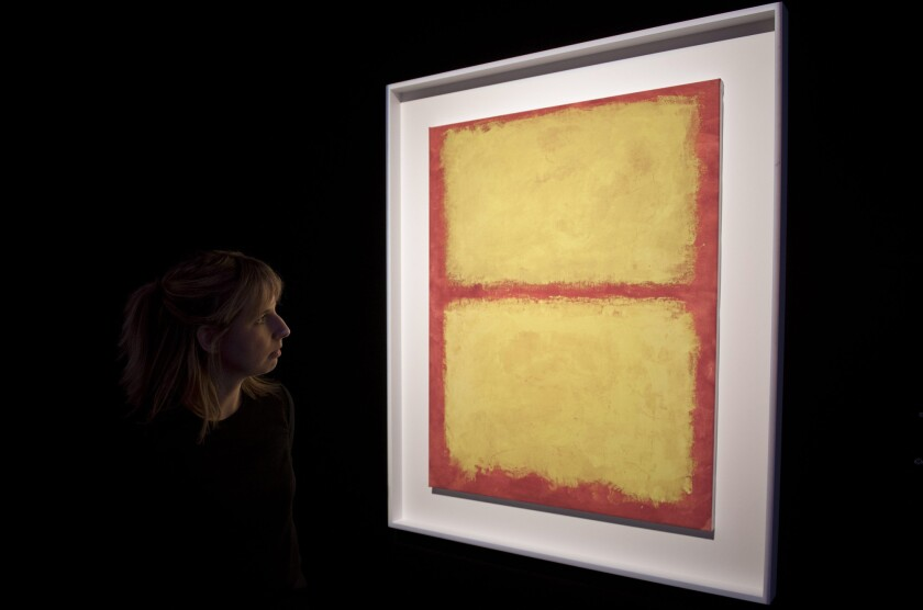 A replicate of the painting 'Untitled' by artist Mark Rothko on display at Sotheby's in London this month. A new report says the global art market, particularly for contemporary and modern work, is strong.