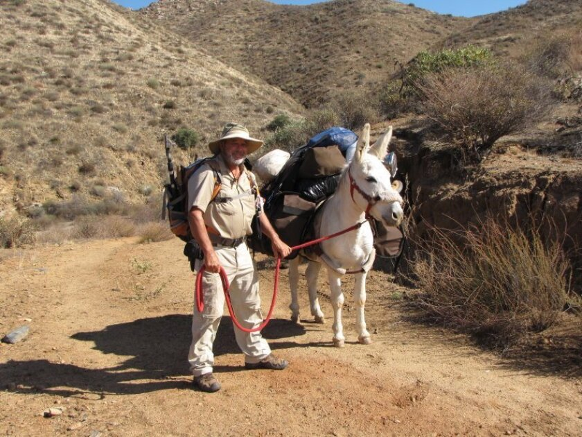 Mike Younghusband and his burro, Don-Kay, get ready to set out for another day of hiking the length of the Baja peninsula. Photo by Graham Mackintosh.