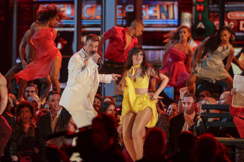 LOS ANGELES, CA - February 10, 2019 at Ricky Martin, Camila Cabello, perform onstage the 61st GRAMMY