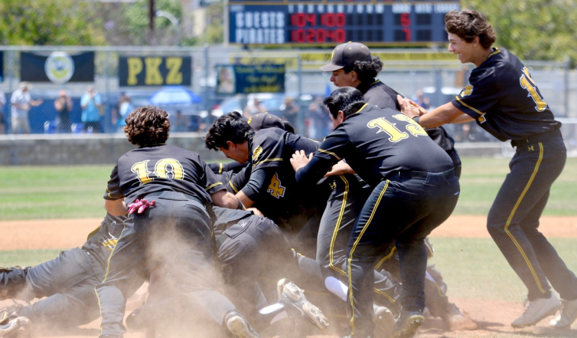 San Pedro baseball players celebrate moments after beating El Camino Real.