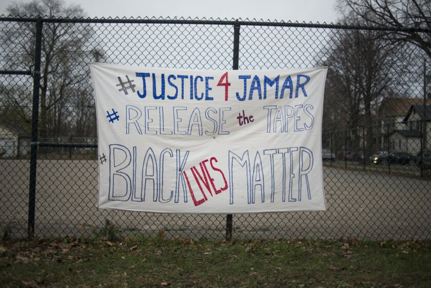 A sign demanding the release of videos of the killing of Jamar Clark in Minneapolis.