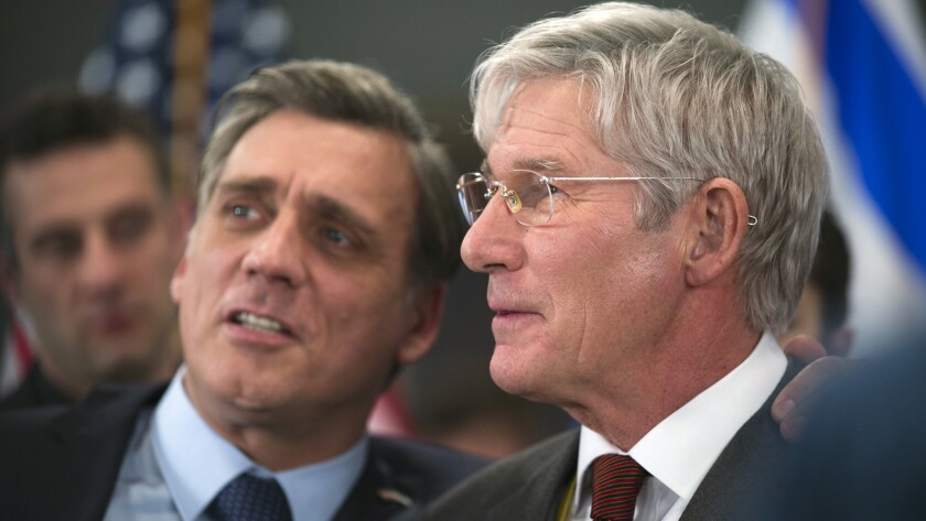 """Lior Ashkenazi, left, and Richard Gere in the film """"Norman: The Moderate Rise and Tragic Fall of a New York Fixer."""""""