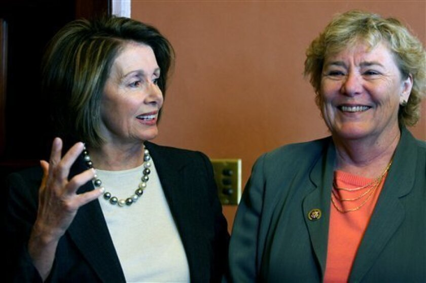 House Speaker Nancy Pelosi of Calif., left, and Rep. Zoe Lofgren, D-Calif., right, discuss the Lily Ledbetter Fair Pay Act and the Paycheck Fairness Act,  Friday, Jan. 9, 2009, on Capitol Hill in Washington. (AP Photo/Lauren Victoria Burke)