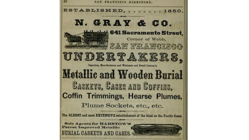 An 1867 undertaker's advertisement in a San Francisco newspaper features an illustration of a metal casket.