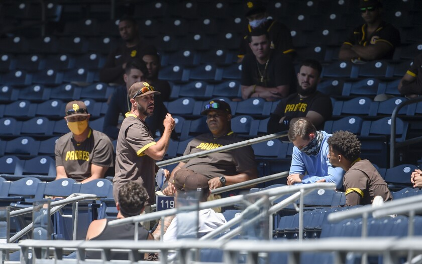 Padres manager Jayce Tingler holds meeting in stands before team's first workout of summer camp Friday at Petco Park.