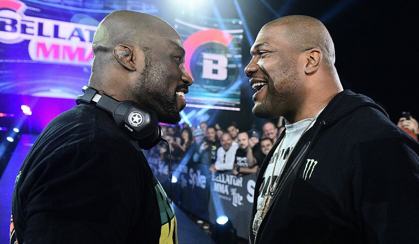 """Muhammed """"King Mo"""" Lawal, left, will face Quinton """"Rampage"""" Jackson on March 31."""