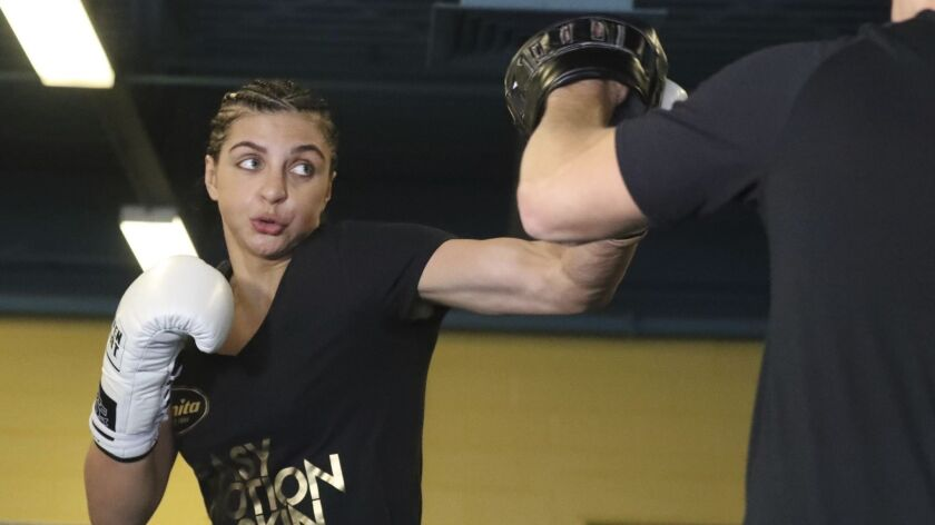 Christina Hammer works out in Atlantic City, N.J., Thursday, April 11, 2019. Hammer faces Claressa S