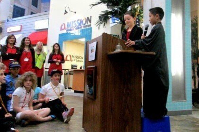 Fifth-grader Jessica Maltzman is inducted as mayor of BizTown.