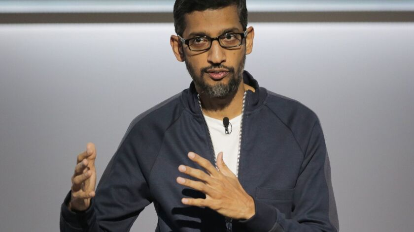 Sundar Pichai, chief executive of Google, speaks about Google's improvements in artificial intelligence and machine learning during a product launch event at the SFJAZZ Center in San Francisco in October 2017.