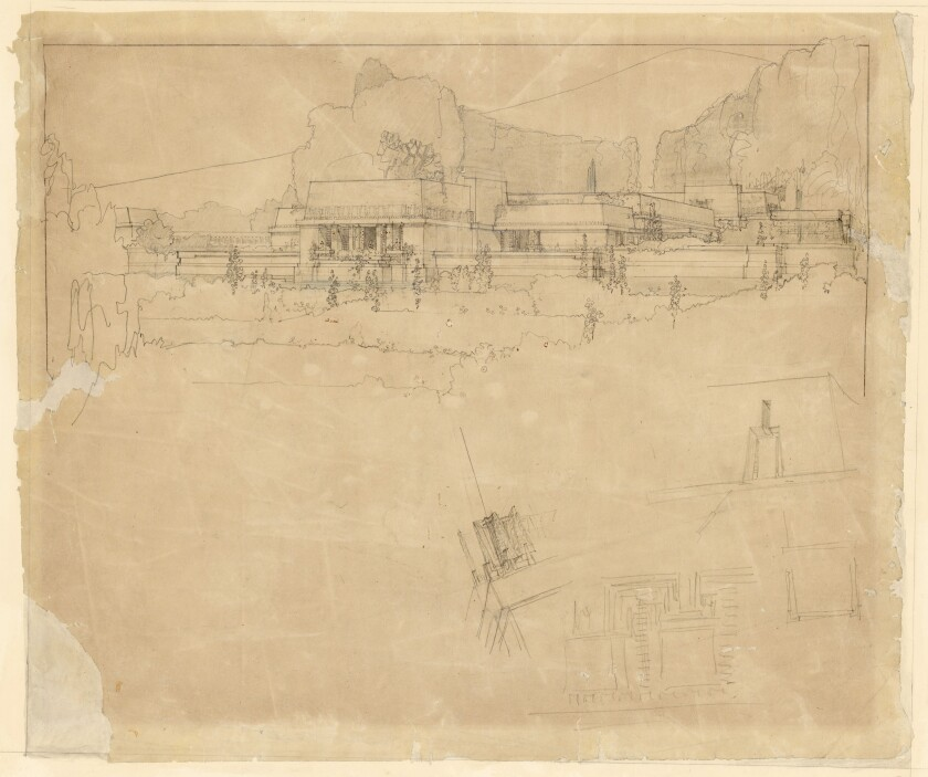 Blueprints and drawings of the Hollyhock House, including this pencil sketch of the west facade, can be seen online.