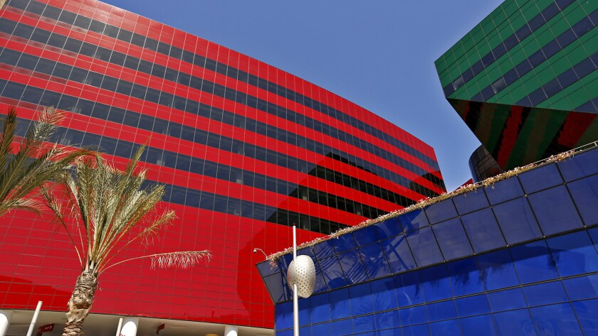 Blue, Green and Red Buildings at Pacific Design Center