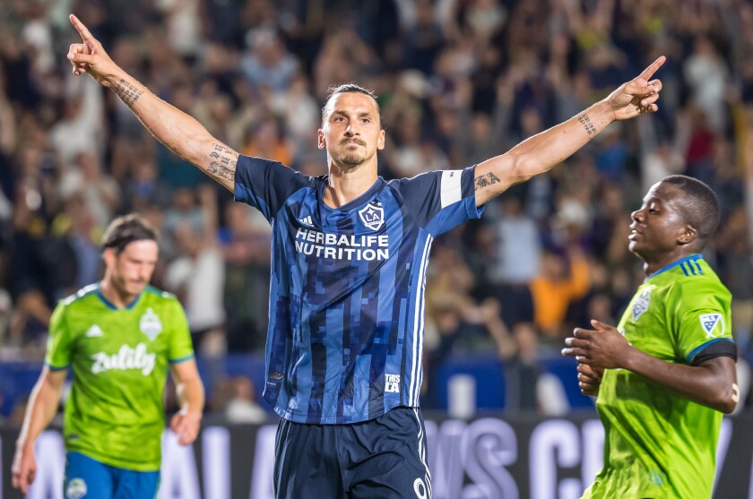 Galaxy star Zlatan Ibrahimovic celebrates after scoring a goal against the Seattle Sounders on Aug. 17.