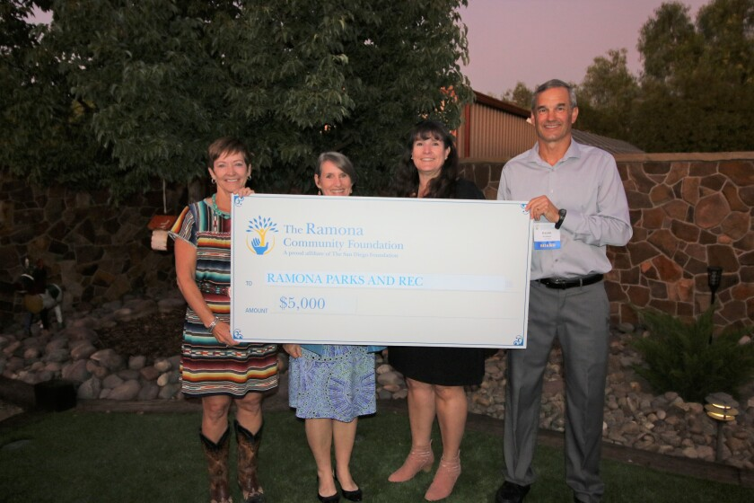 Ramona Parks & Recreation received a 2019 grant from Ramona Community Foundation. L-R: Kris Zook; Dawn Perfect; Kevin McNees.