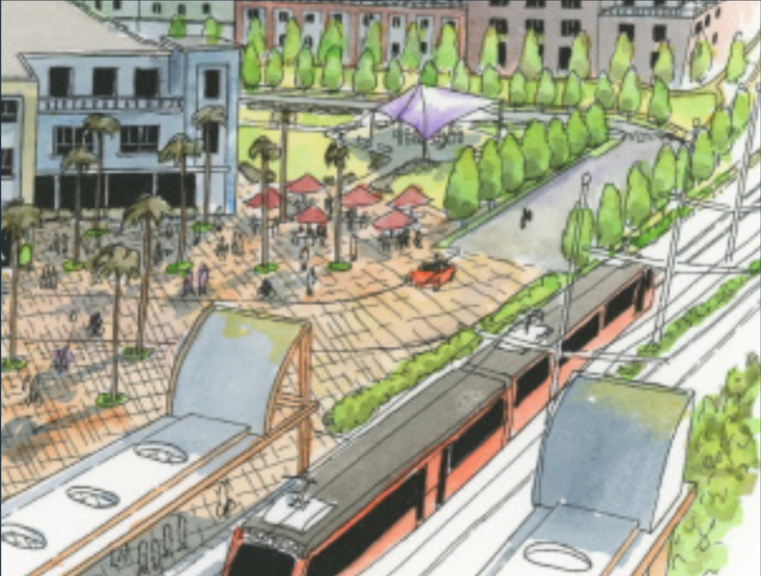 An artist's rendering of high-rise buildings proposed along San Diego's new trolley line