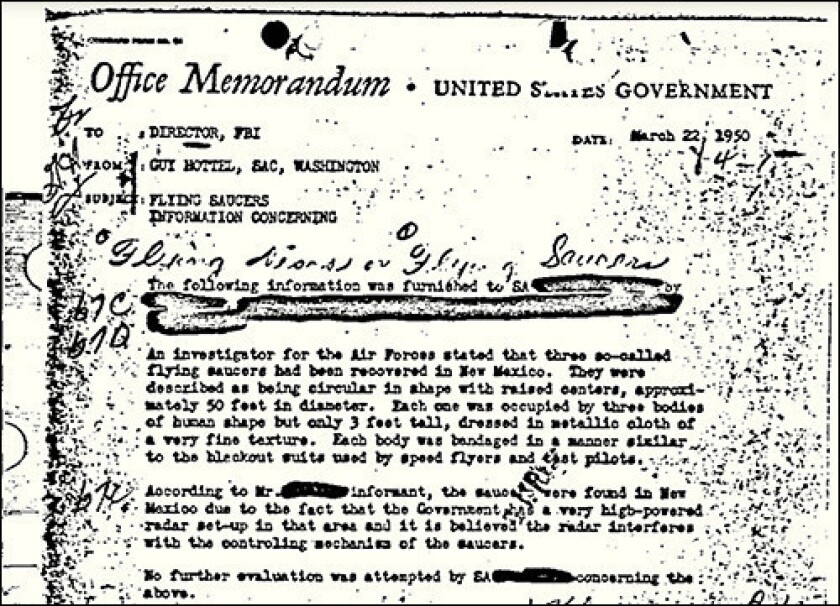 A single-page March 22, 1950, memo by Guy Hottel, special agent in charge of the Washington Field Office, regarding UFOs is the most viewed document in the FBI Vault, the agency's online repository of public records.